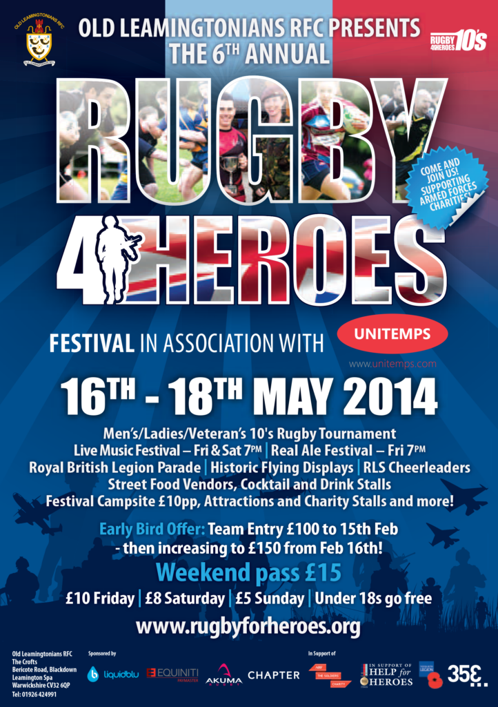 poster promoting rugby for heroes festival may twenty fourteen