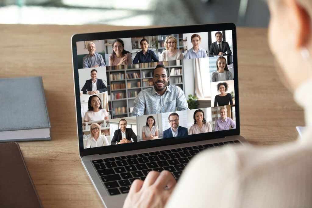 Woman on video call on laptop scaled