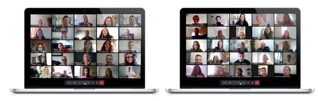 multi screen zoom meeting on two laptop screens